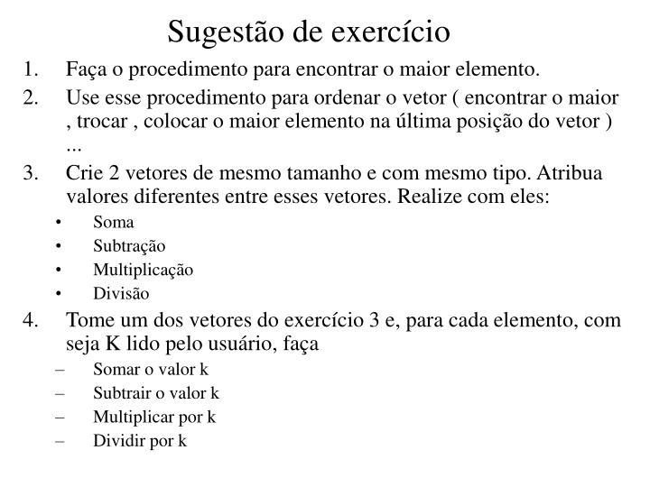Sugestão de exercício