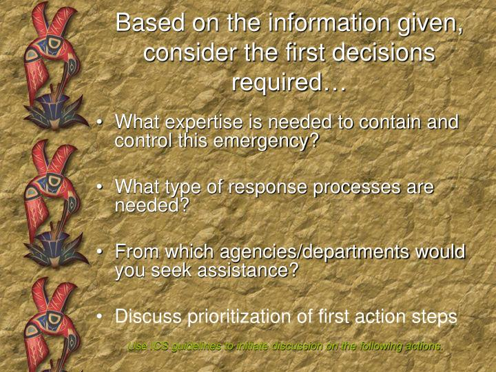 Based on the information given, consider the first decisions required…