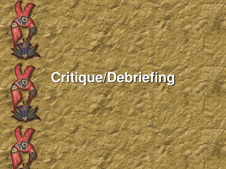 Critique/Debriefing