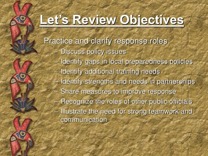 Let's Review Objectives
