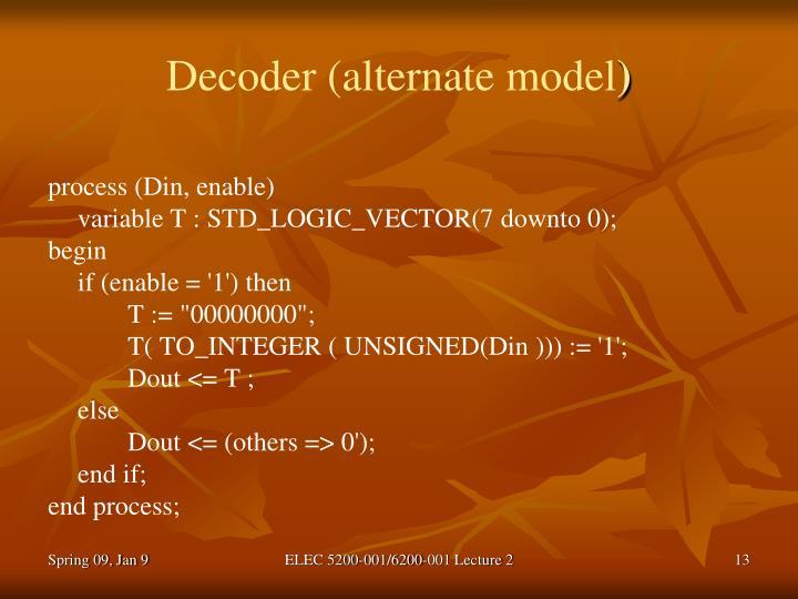 Decoder (alternate model