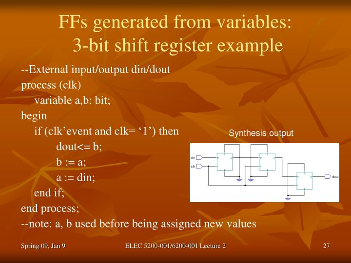 FFs generated from variables: