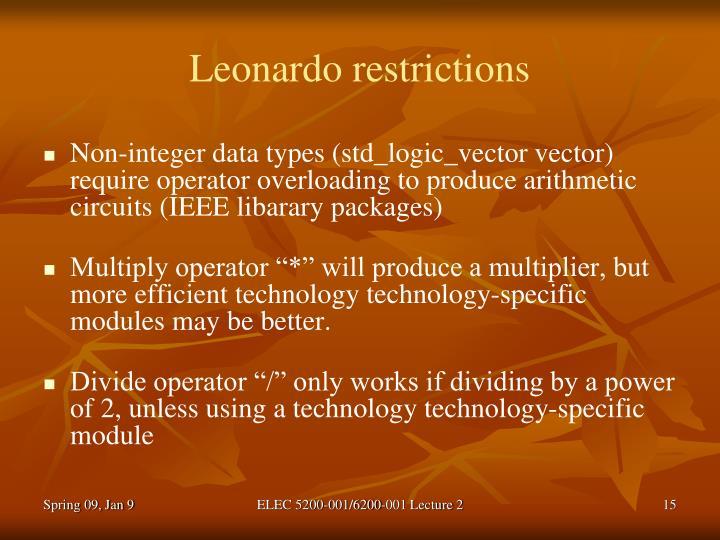 Leonardo restrictions