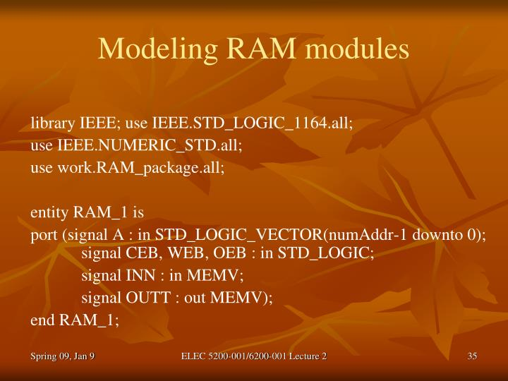 Modeling RAM modules