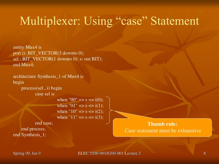"Multiplexer: Using ""case"" Statement"