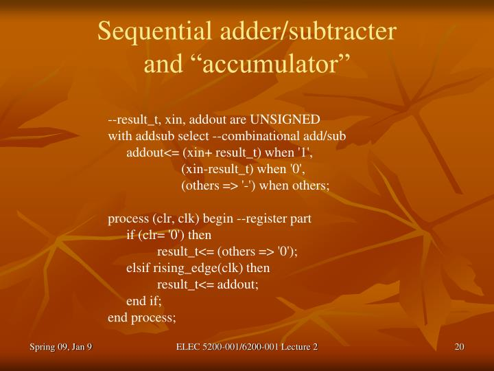 Sequential adder/subtracter
