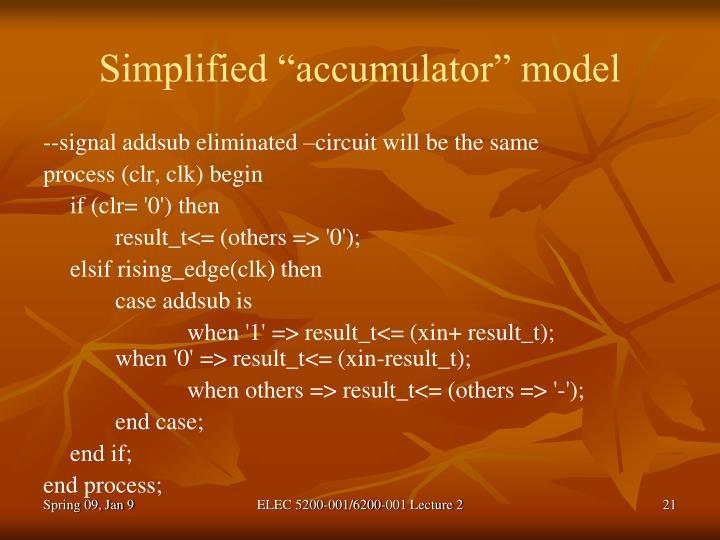"Simplified ""accumulator"" model"