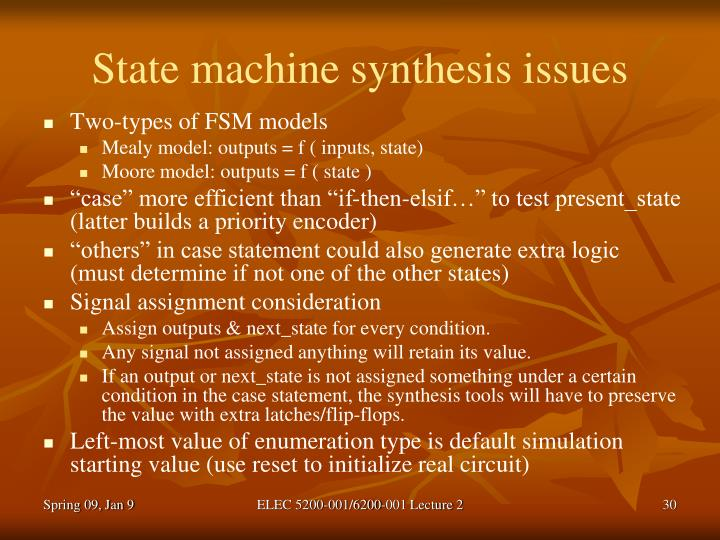 State machine synthesis issues