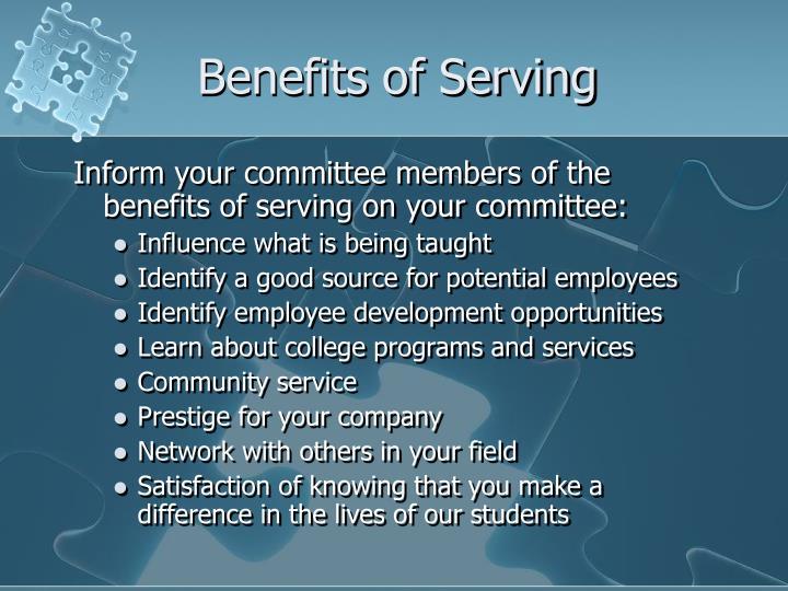 Benefits of Serving
