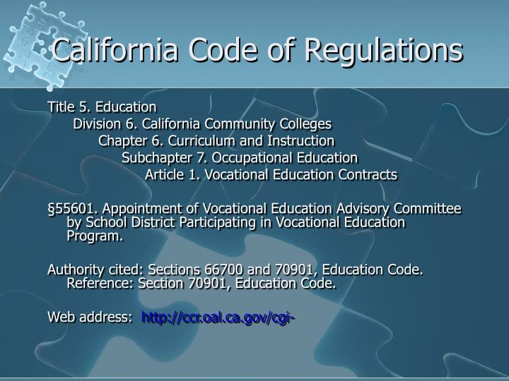 California code of regulations