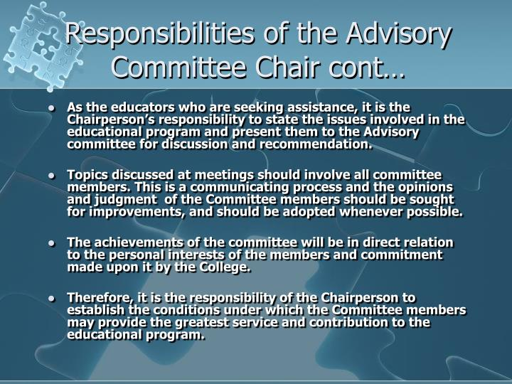 Responsibilities of the Advisory Committee Chair cont…