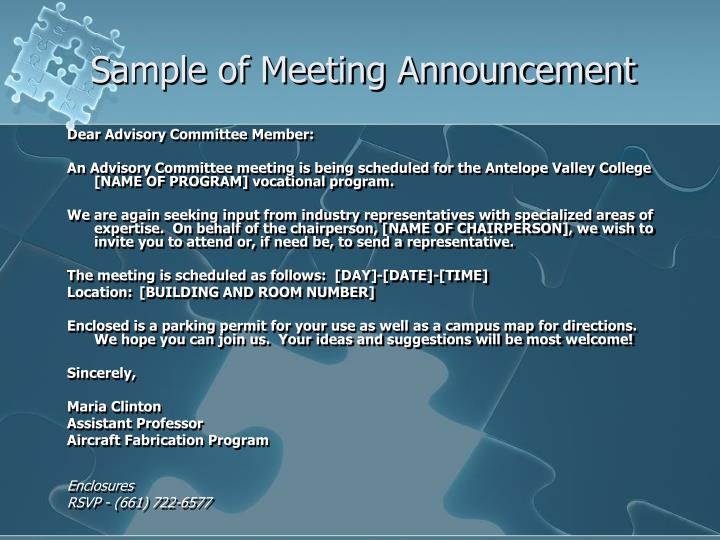 Sample of Meeting Announcement