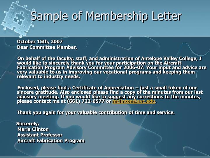 Sample of Membership Letter