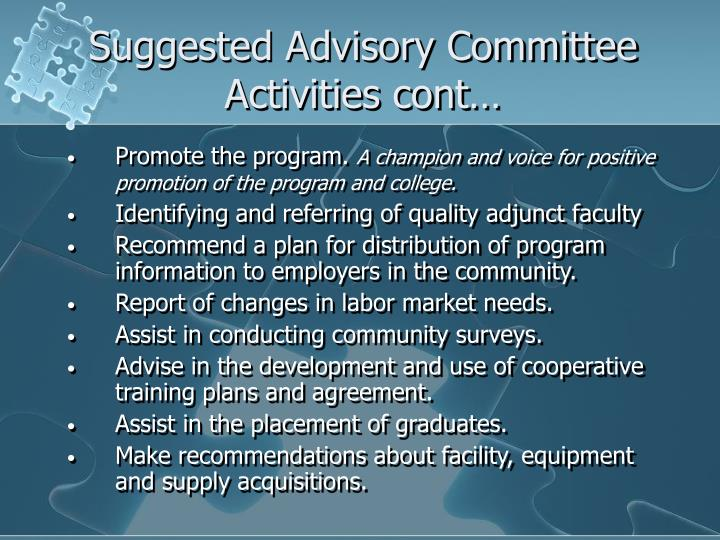 Suggested Advisory Committee Activities cont…
