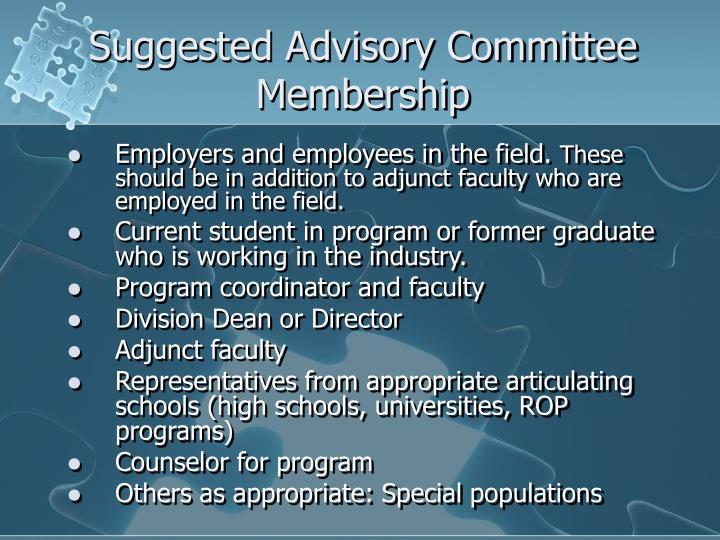 Suggested Advisory Committee Membership