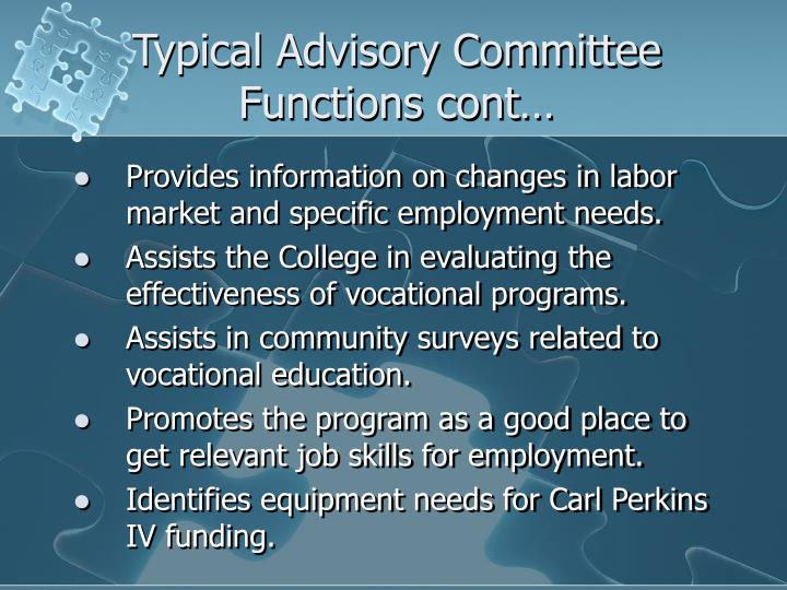 Typical Advisory Committee Functions cont…