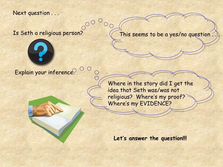 Next question . . .