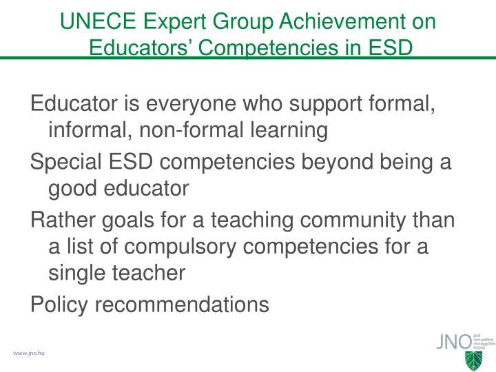 UNECE Expert Group Achievement on