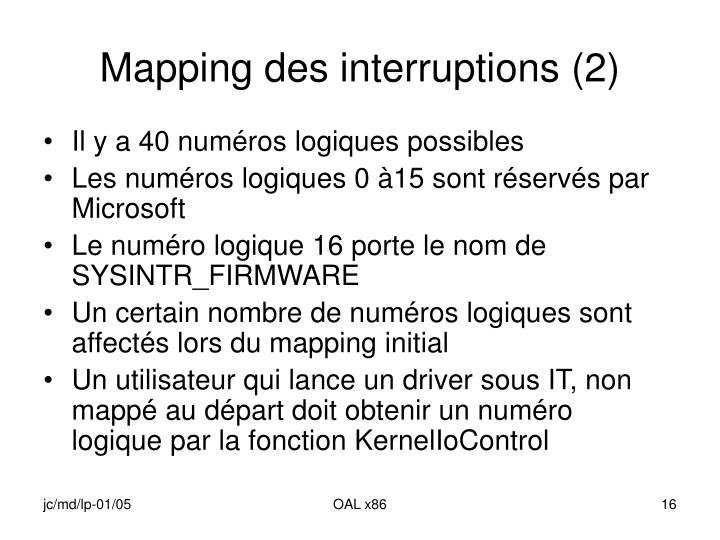 Mapping des interruptions (2)