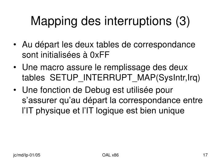 Mapping des interruptions (3)