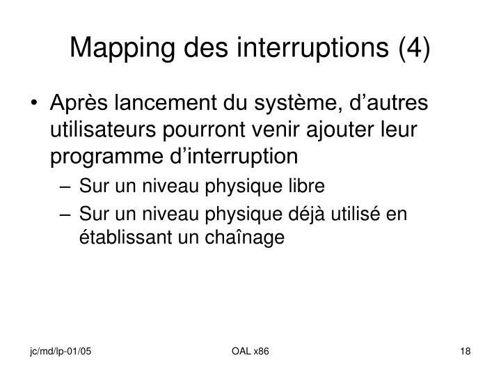 Mapping des interruptions (4)