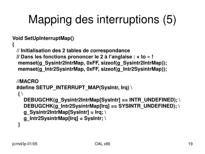 Mapping des interruptions (5)