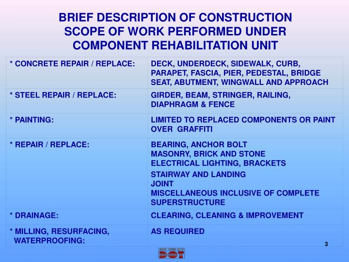 BRIEF DESCRIPTION OF CONSTRUCTION