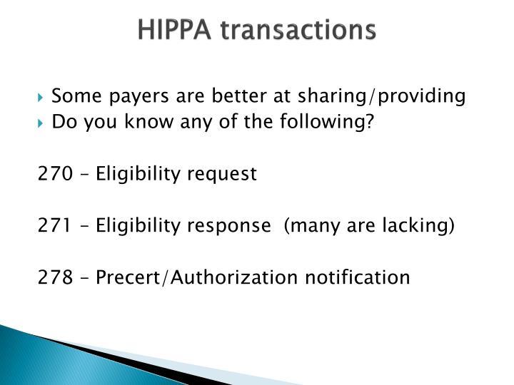 HIPPA transactions