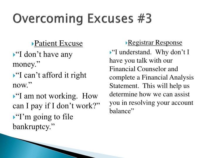 Overcoming Excuses #3