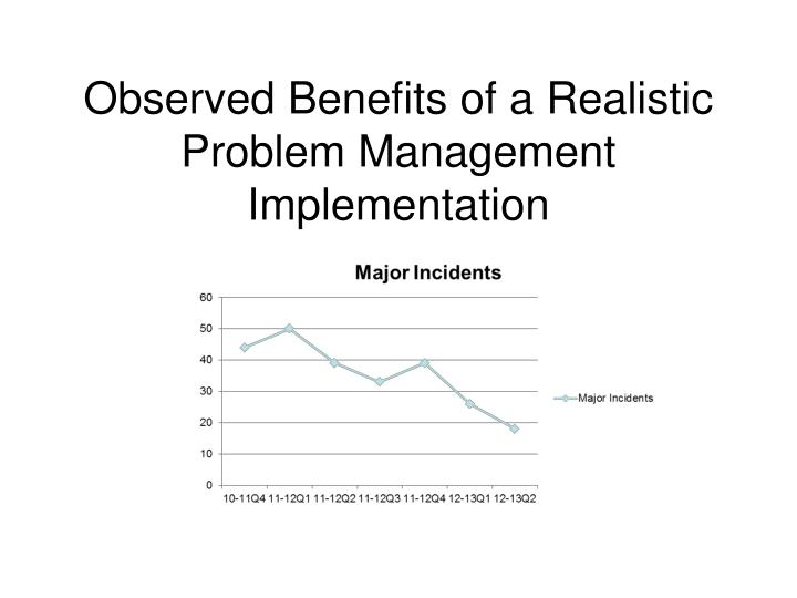 observed benefits of a realistic problem management implementation n.