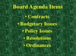board agenda items