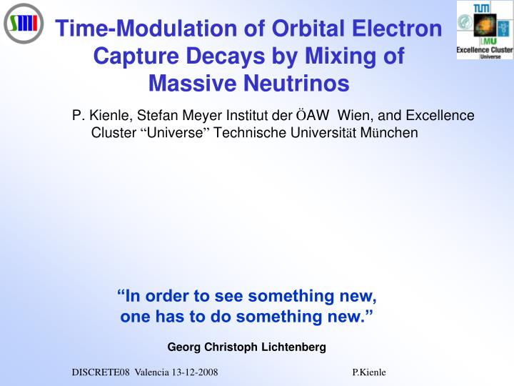 time modulation of orbital electron capture decays by mixing of massive neutrinos n.