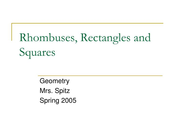 rhombuses rectangles and squares n.