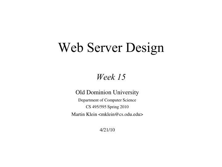 web server design week 15 n.
