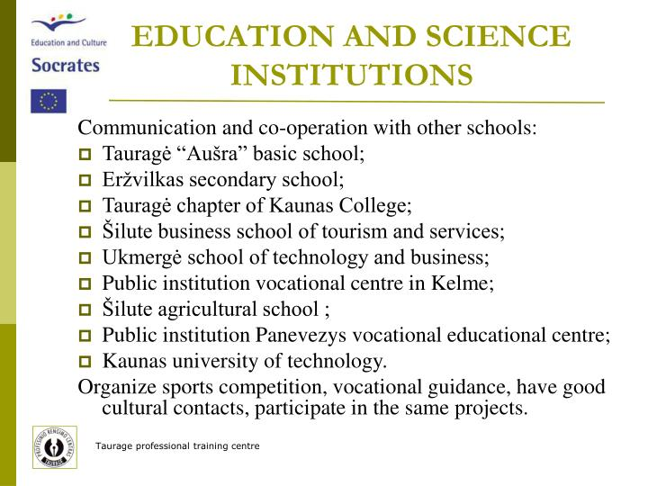 EDUCATION AND SCIENCE INSTITUTIONS