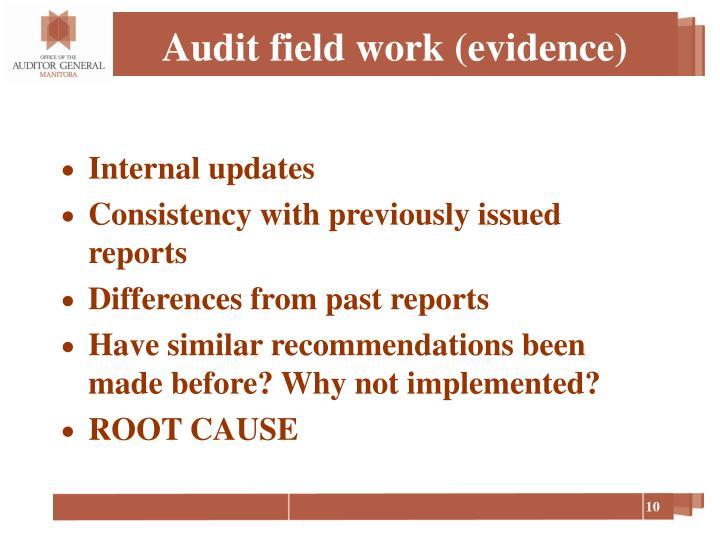 Audit field work (evidence)