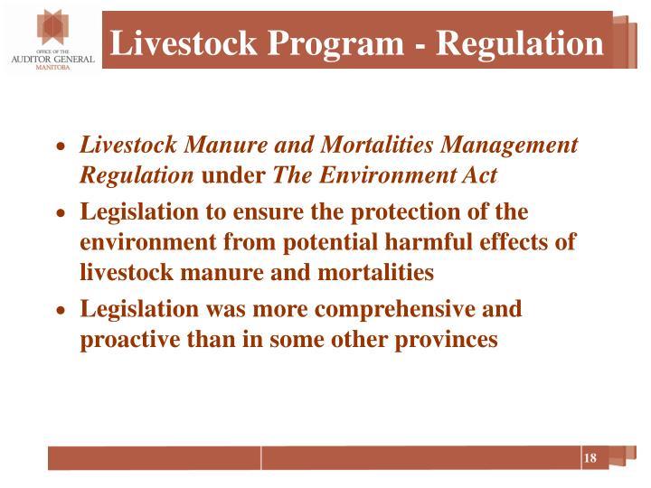 Livestock Program - Regulation