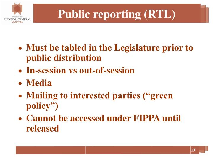Public reporting (RTL)