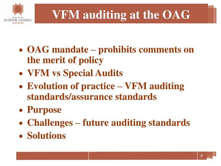 Vfm auditing at the oag