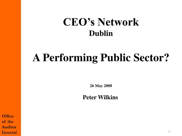 Ceo s network dublin a performing public sector 26 may 2008 peter wilkins