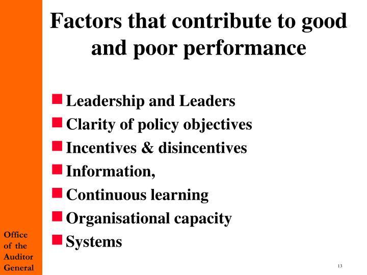 Factors that contribute to good and poor performance