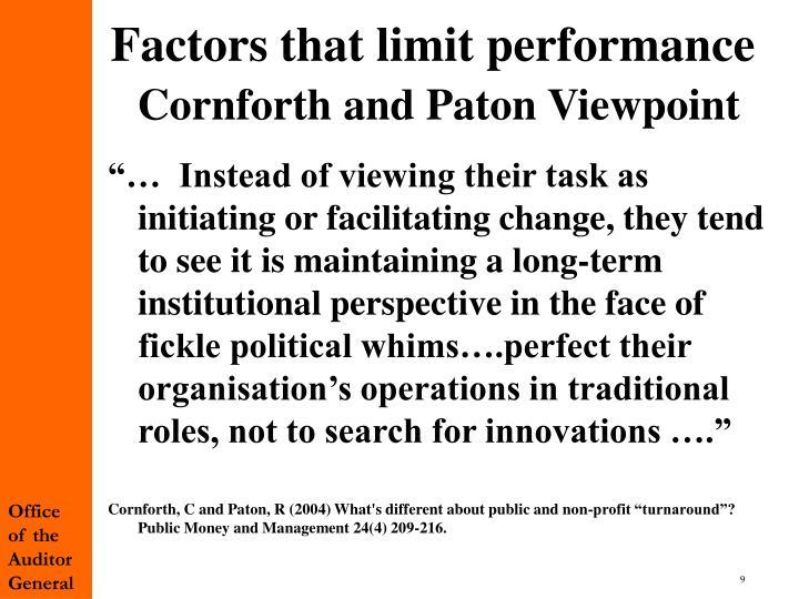 Factors that limit performance
