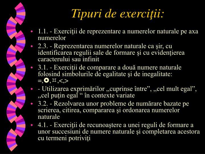 Tipuri de exerci ii