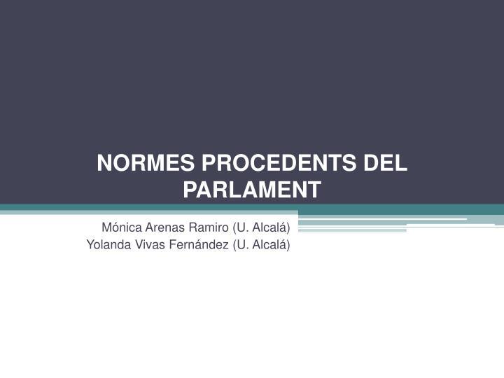 normes procedents del parlament