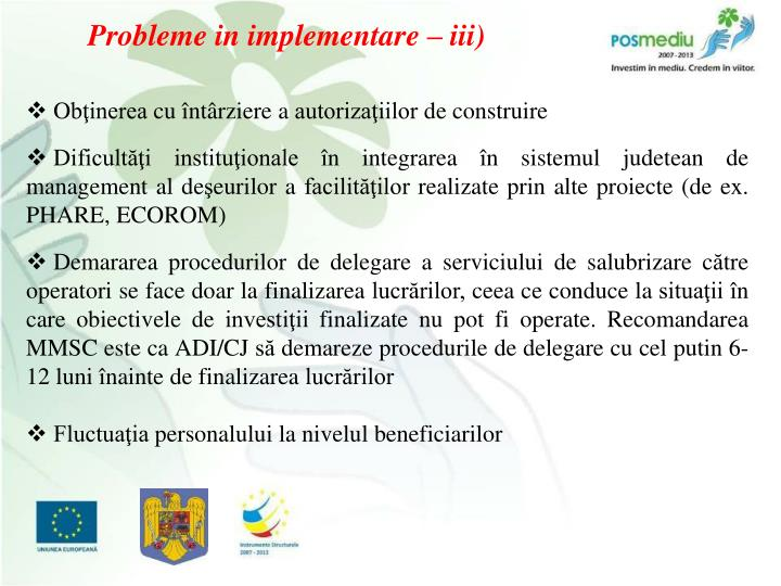 Probleme in implementare