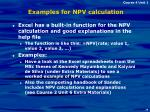 examples for npv calculation