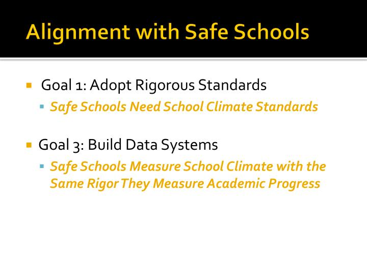 Alignment with Safe Schools