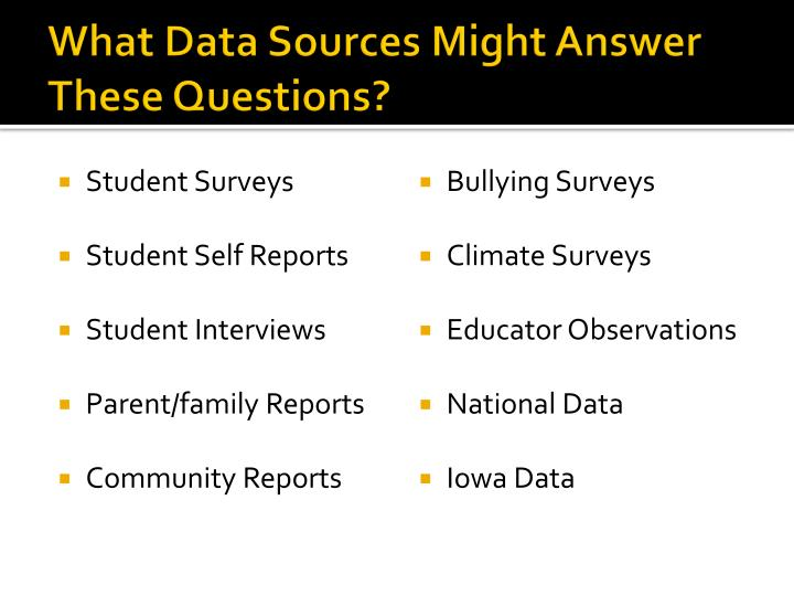 What Data Sources Might Answer These Questions?