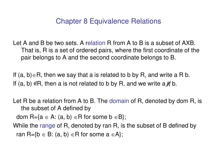 Chapter 8 equivalence relations