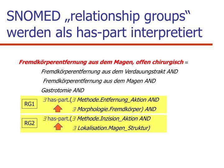 """SNOMED """"relationship groups"""" werden als has-part interpretiert"""